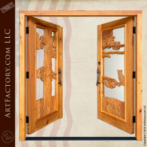 Log Cabin Entrance Double Doors open position