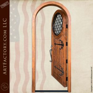 Wooden Medieval Door: Hand-Forged Harlequin Pattern Security Grill