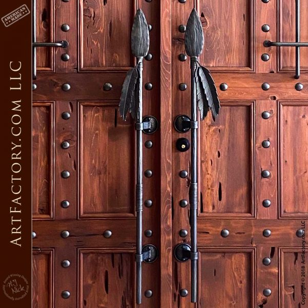 spear and feather door pulls