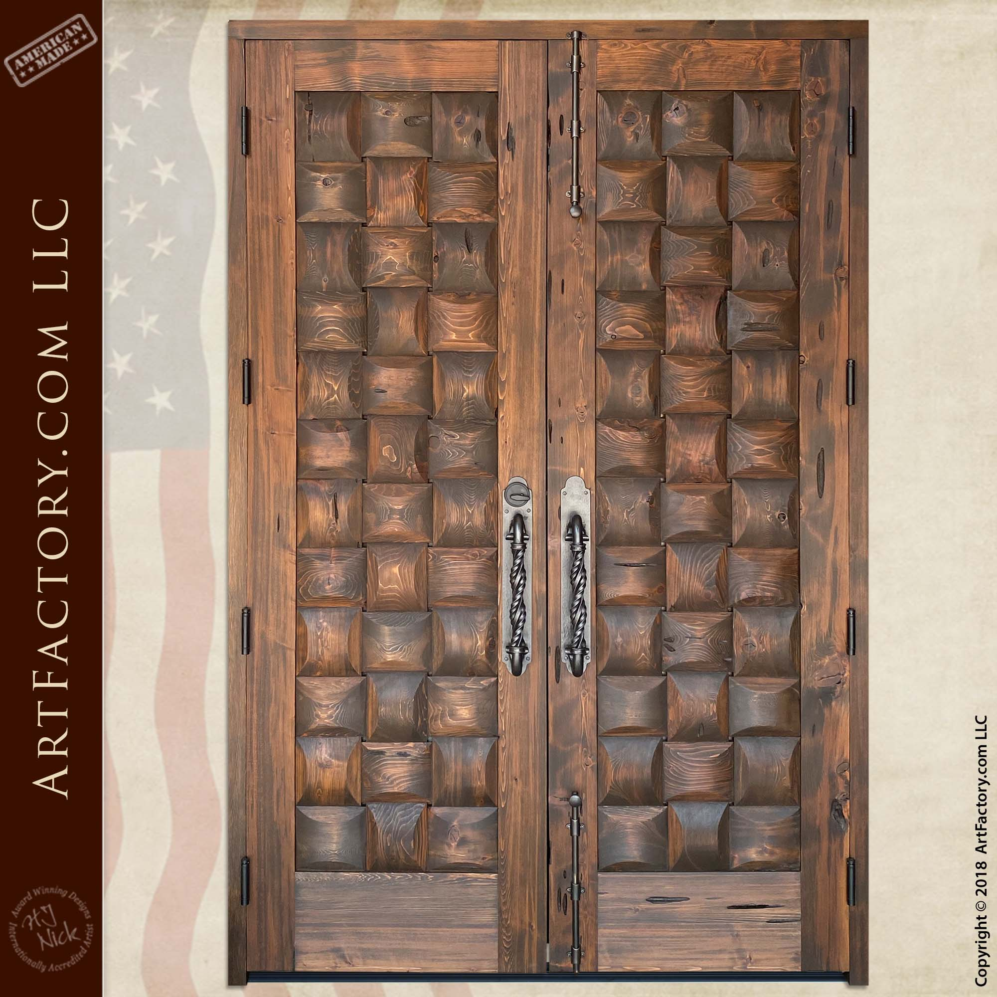 Rustic Basket Weave Double Doors back