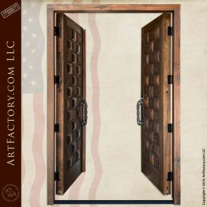Rustic Basket Weave Double Doors open position