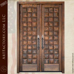 Rustic Basket Weave Double Doors