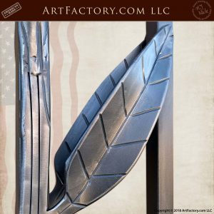 hand forged iron leaf up close