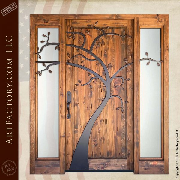Hand Forged Iron Tree Themed Entrance Door