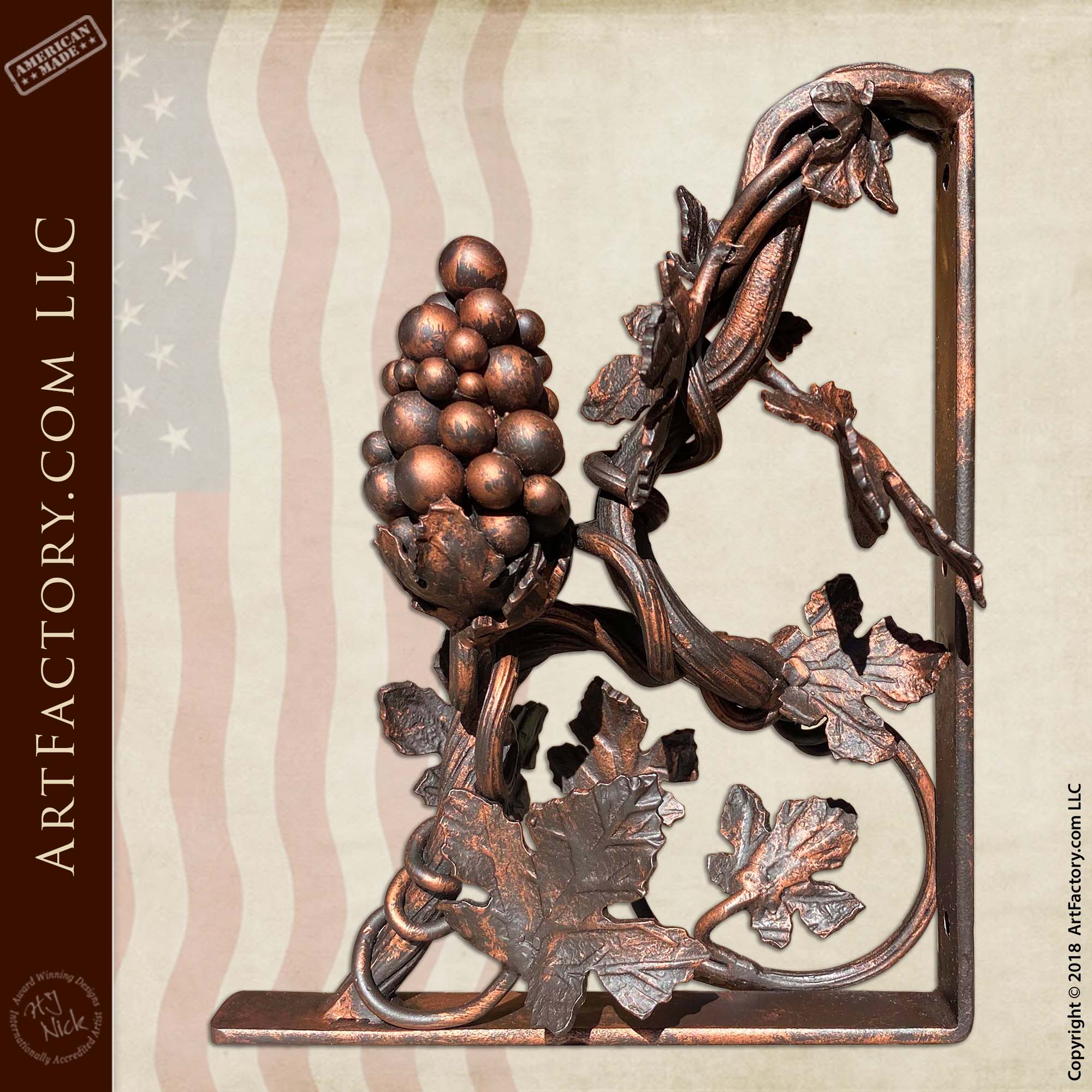 Grapevine Themed Decorative Shelf Brackets