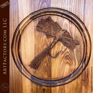 Fly Fishing Lure wood carving close up