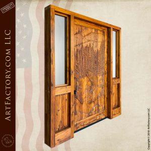 Solid Wood Hand-Carved Lodge Door