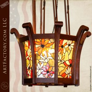 Custom Greene & Greene House Chandelier with Extended Leather Straps