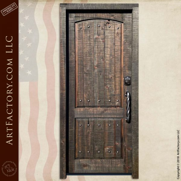 Rough Sawn Solid Wood Door with Hand-Forged Iron Hardware