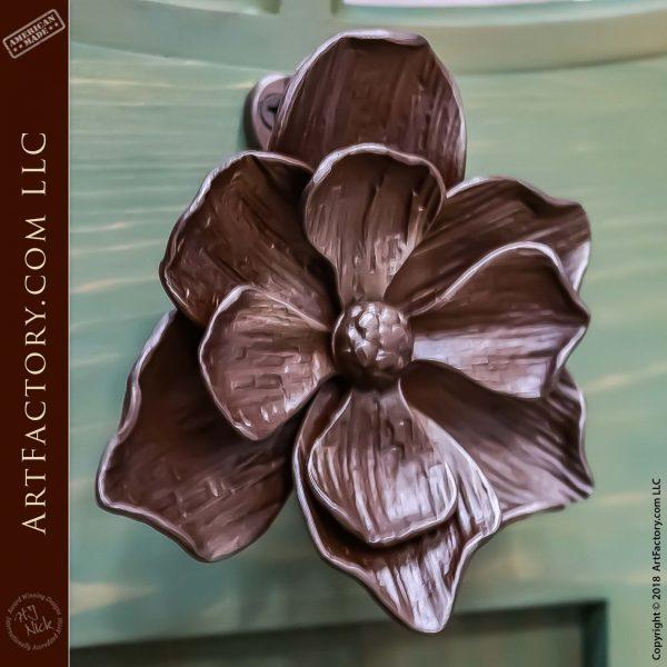 Hand-Forged Iron Flower Door Knocker