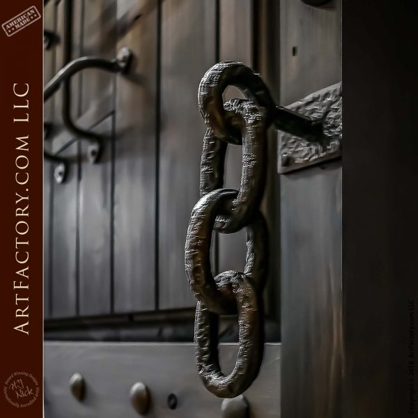 Custom Entry Door with Hand-Forged Iron Chain-Link Pulls