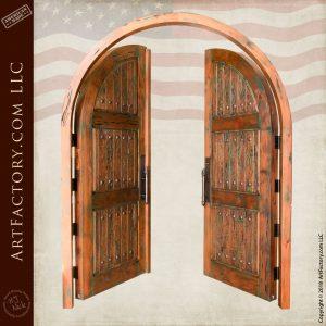 vertical plank panel entrance double doors in open position