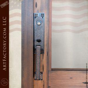hand hammered iron door handle