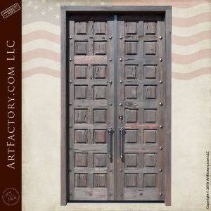 Tall Solid Wooden Castle-Style Double Door