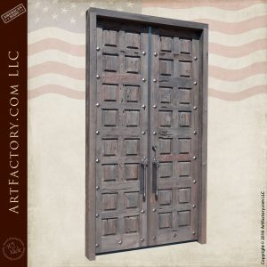 tall castle double doors angled view
