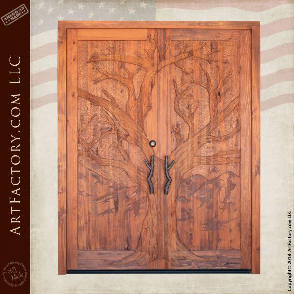 Double Solid Wooden Tree Door