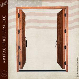custom carved double doors open position