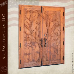 custom carved double doors angled view
