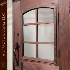 door viewing window with solid wood mullion frame