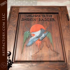 "Custom Solid Wooden ""The Eagles"" Cover Door"