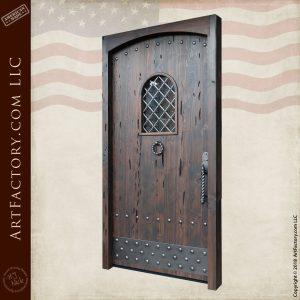 custom wooden castle door angled view