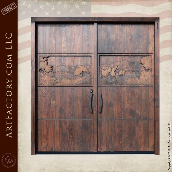 Solid Custom Wooden Hand Carved Double Door