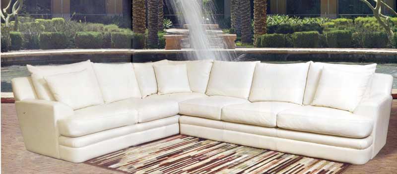 White Leather Corner Units: Contemporary White