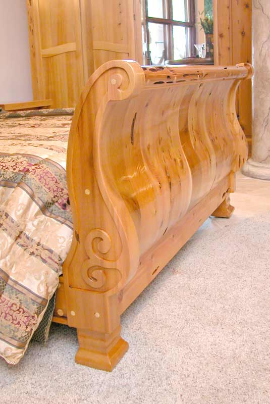 Hand Carved Bed: Solid Wood Sleigh Beds