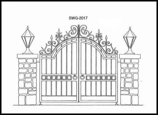 Entrance gate hand forged iron wrought