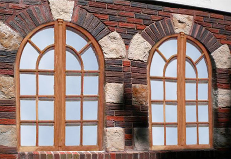 Custom windows store front windows large wood windows for Arched bay windows