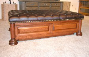 Coffee Table - Leather Tuck Button Table - CT964