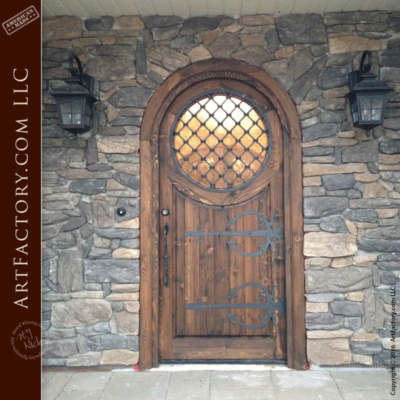 Custom Wood Door Arch Top Round Window Medieval Door Hardware Scottsdale Art Factory