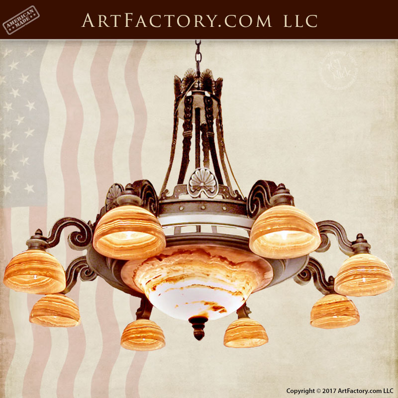 Chandelier Hand Forged Wrought Iron And Genuine Onyx  -  LC0798