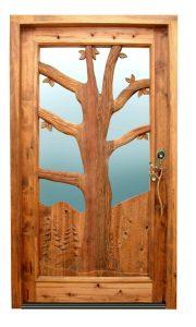 Hand Carved Wood Door - Outdoor Tree Design -  2339HC
