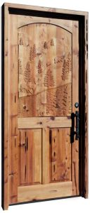 Hand Carved Door With Forest Deer And Custom Hardware 3003HC