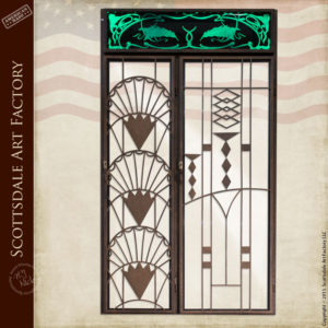 Iron Wine Doors / Lighted Art Deco Etched Glass - WSD802