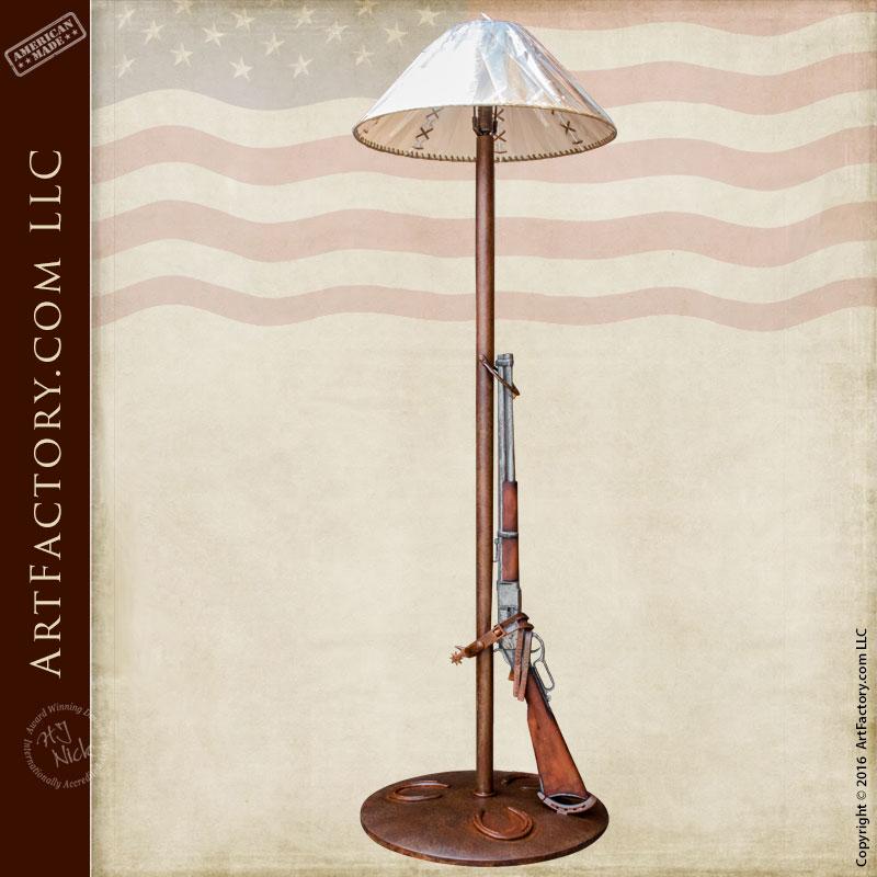 Custom Floor Lamp with 1873 Winchester Trapper Replica -FLRR22