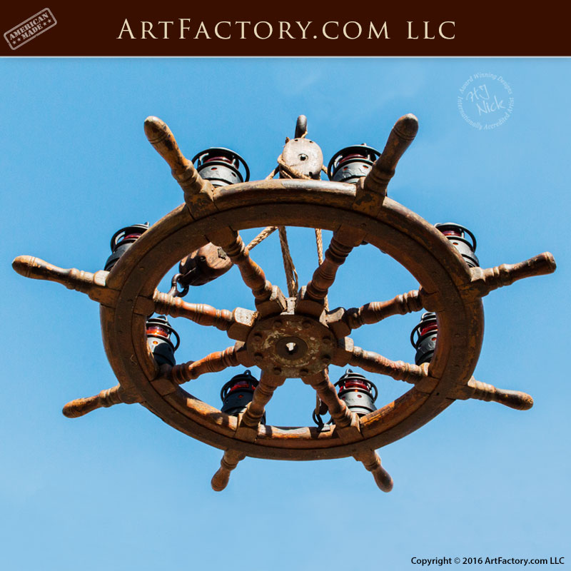 Antique Ship Wheel Chandelier, Custom Light Fixture - SWC2013