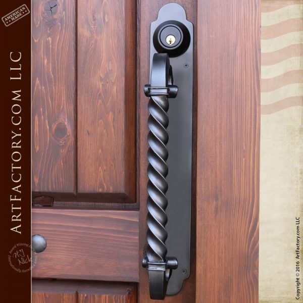 Offset Spiral Twist Door Pull Wrought Iron Custom Door Hardware