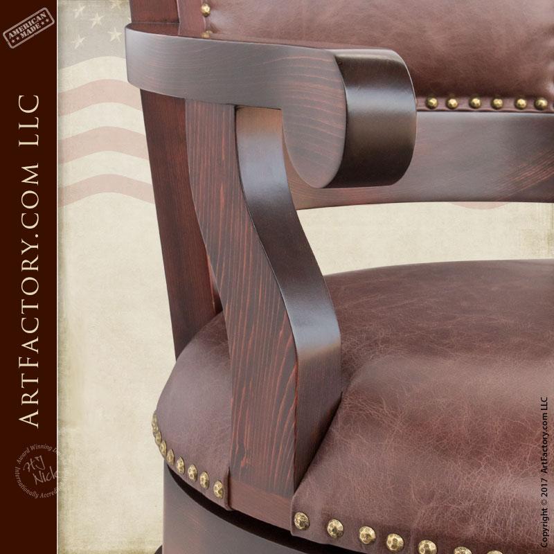 Custom Leather Bar Stools Wooden Swivel Stool Furniture
