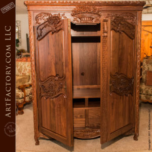 hand carved walnut armoire