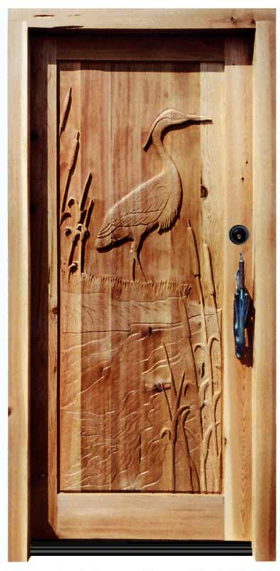 Wooden Door Hand Carved Custom Entry Heron Design
