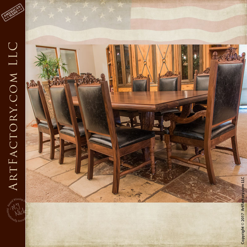 Heirloom Quality Dining Room Furnishings. Hand Carved Dining Table