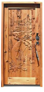 Fishing Cabin, Woods Master Hand Carved Heirloom Door -  5110HC