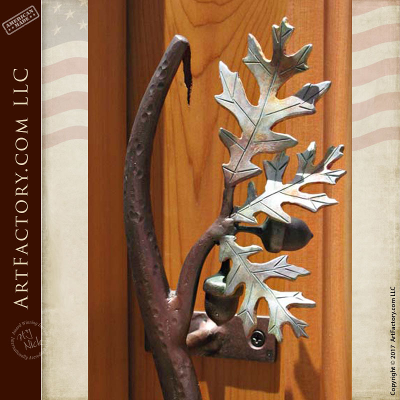 Door Pull Oak Branch With Leaves And Acorns - HH077