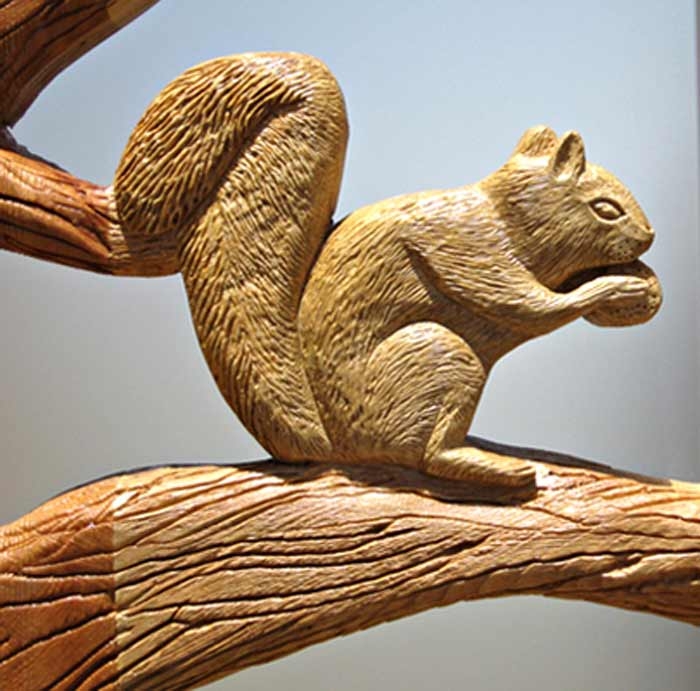 Carved Wood Doors Tree Squirrels Custom Design