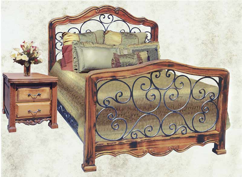 King bed queen bed bedroom furniture wrought iron bed solid wood beds for Wrought iron and wood bedroom sets