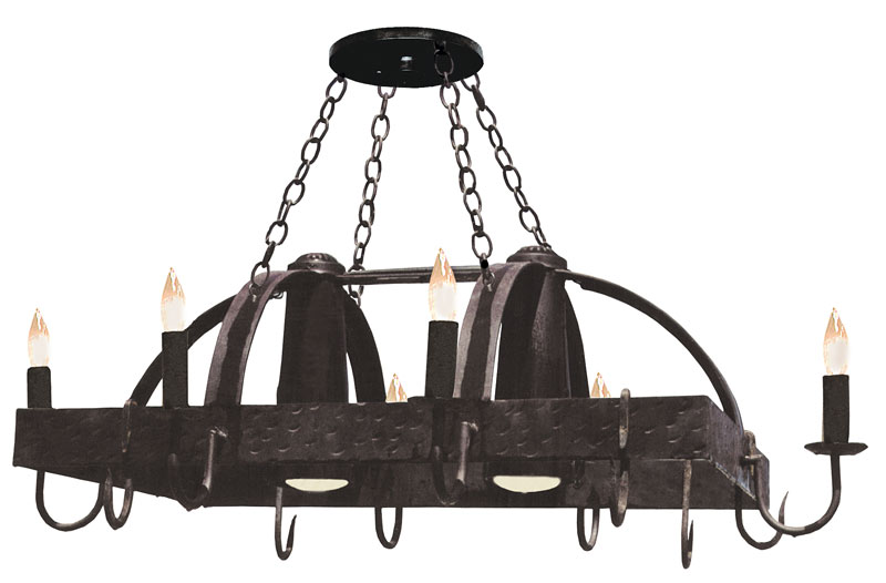 Forged Pot Rack W Down Light Medina Del Campo Style Lc570