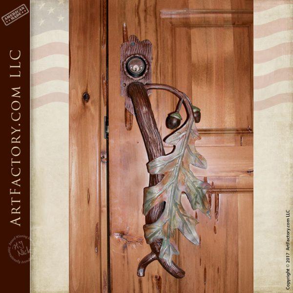 custom oak leaf door handle