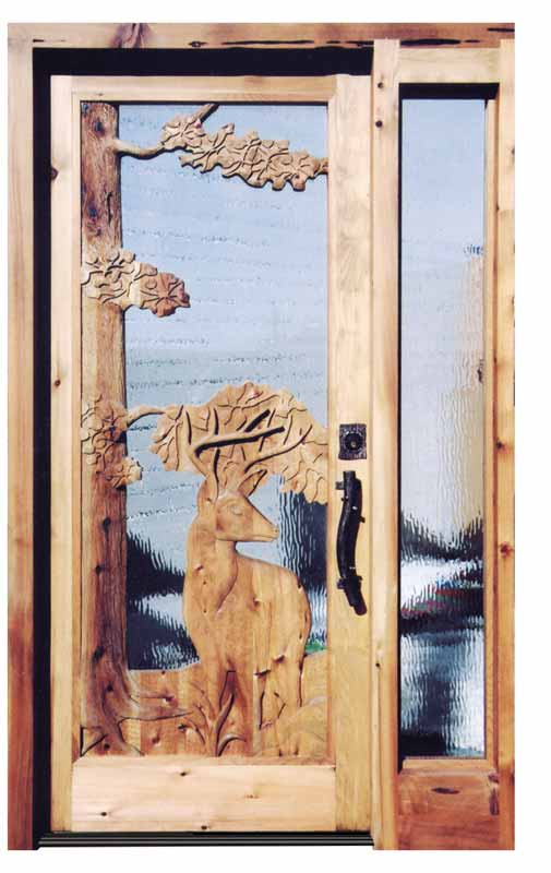 Carved wood doors custom wilderness tree designs - Interior storm windows for old houses ...